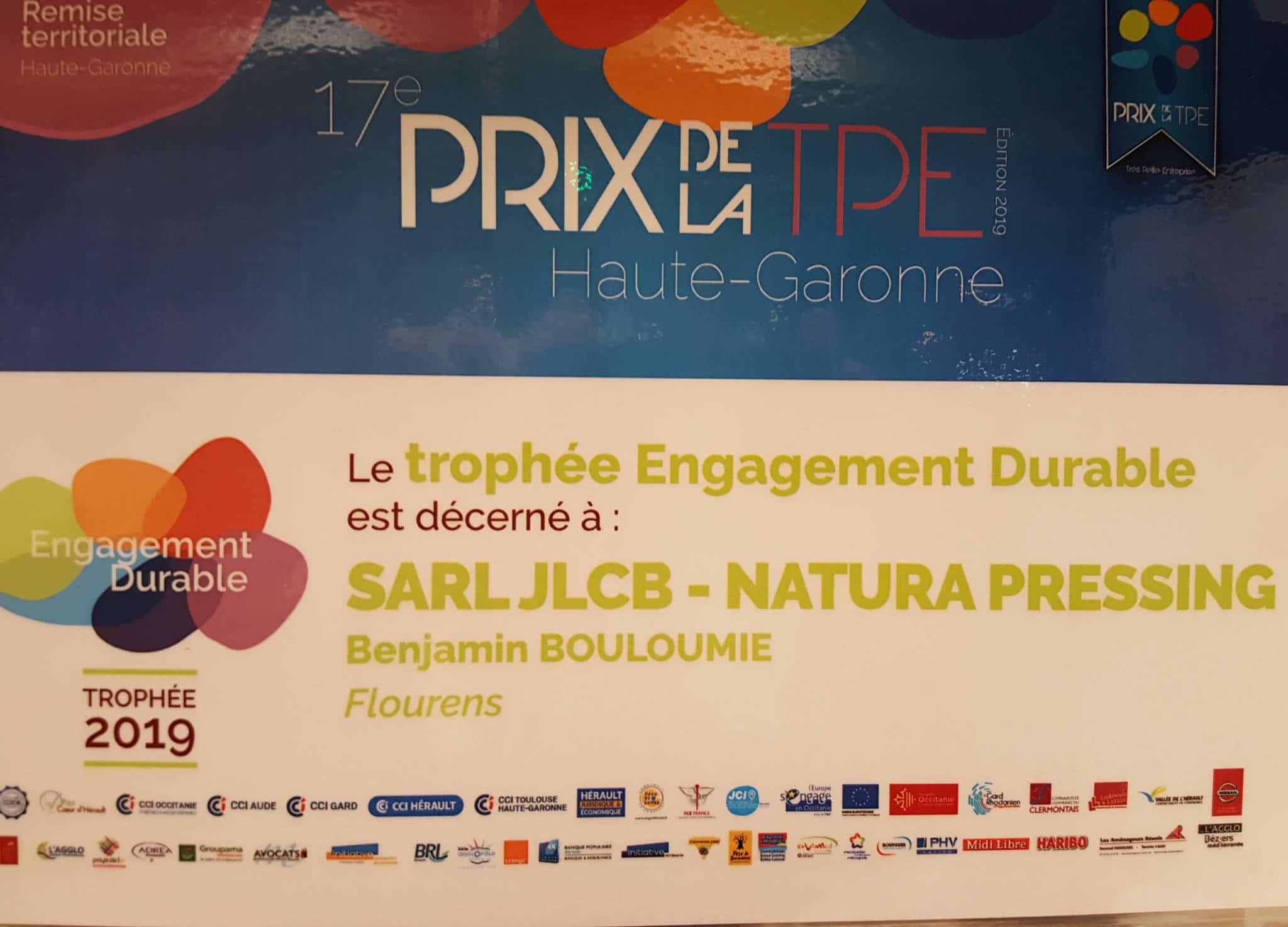 Prix TPE Engagement Durable 2019